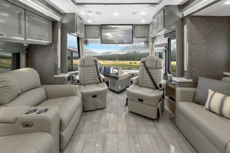The interior of the Tiffin Phaeton 40IH, featuring upscale furnishing and neutral tones.