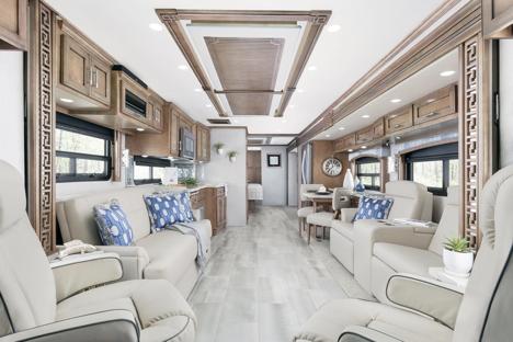 The interior of a 2020 Newmar Ventana featuring the largo interior.