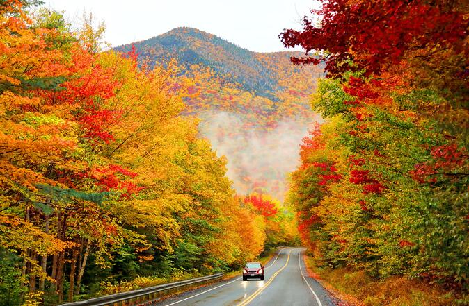 A road through Kancamagus Highway with fall colors on either side.