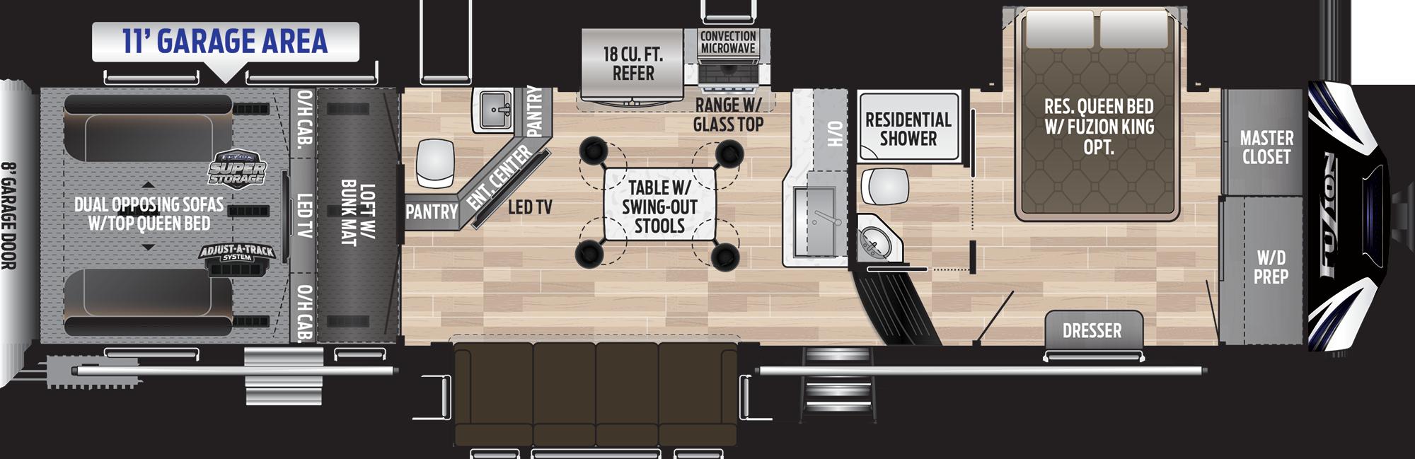 keystone fuzion 373 fifth wheel toy hauler floor plan option