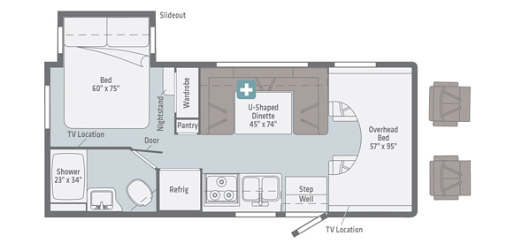 winnebago minnie winnie class c motorhome floorplan options