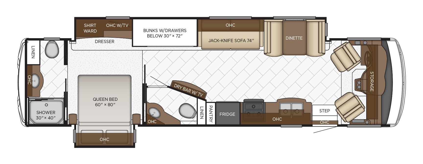 newmar bay star class a motorhome floorplan options-1