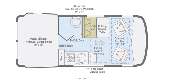 winnebago revel class b motorhome floorplan options