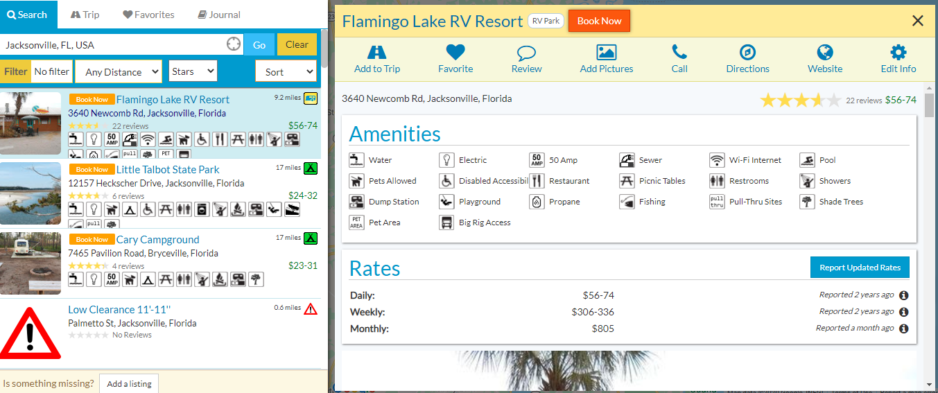 rv parky sidebar list of rv campgrounds and preview page