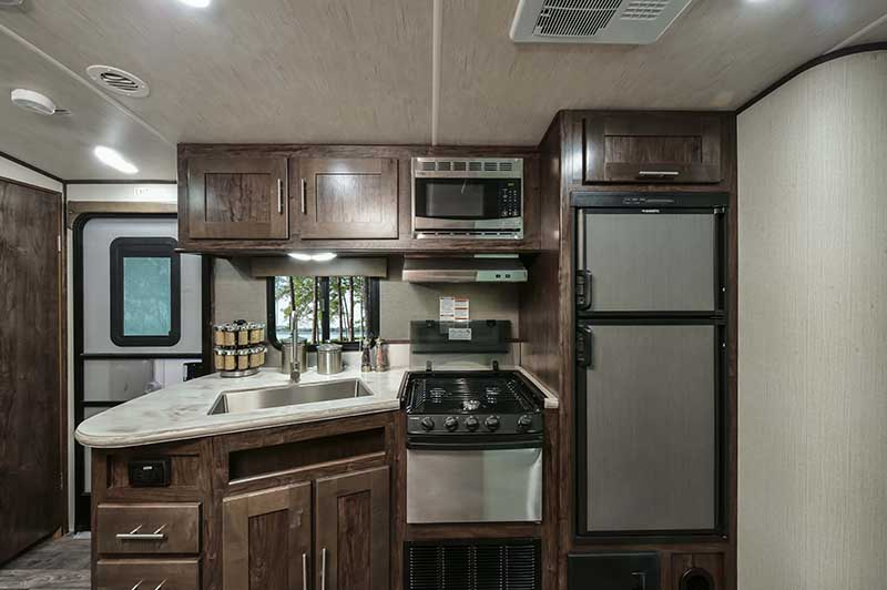 rv with stainless steel appliances
