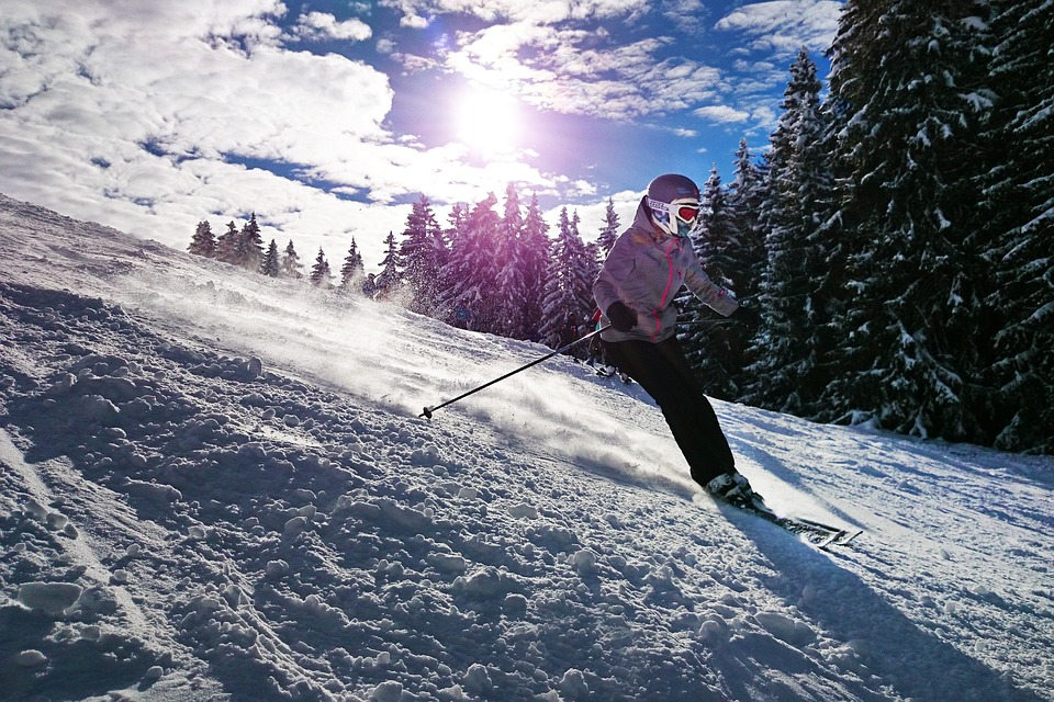 skiing on a mountain