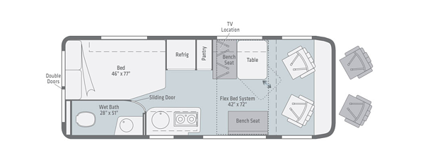 winnebago travato class b motorhome floorplan options