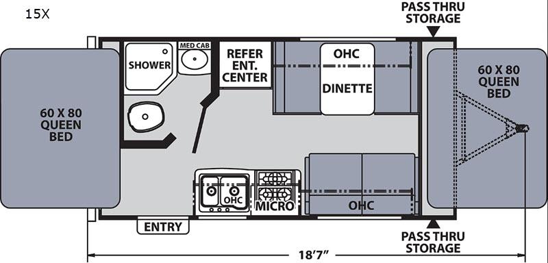 The Floorplan of the 2020 Coachmen Apex Nano Expandable Camper.