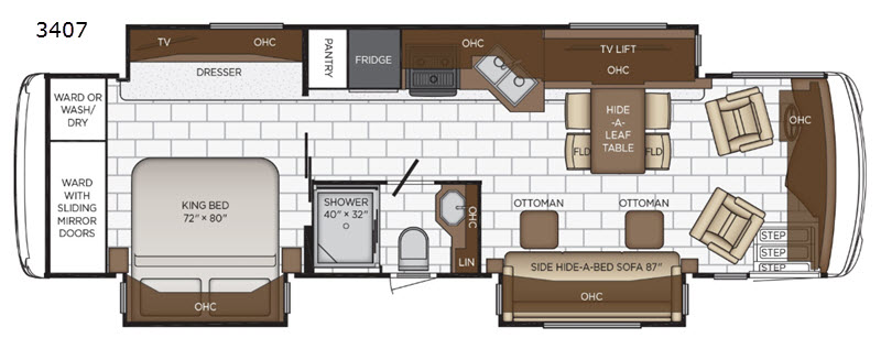 A floorplan of the new 2020 Newmar Ventana 3407 featuring a king bed and one-and-a-half bedrooms.