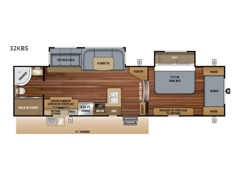Floorplan of Jayco White Hawk 32KBS with king bed