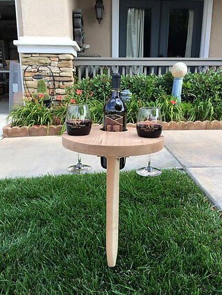 Round Cedar Outdoor Wine Table
