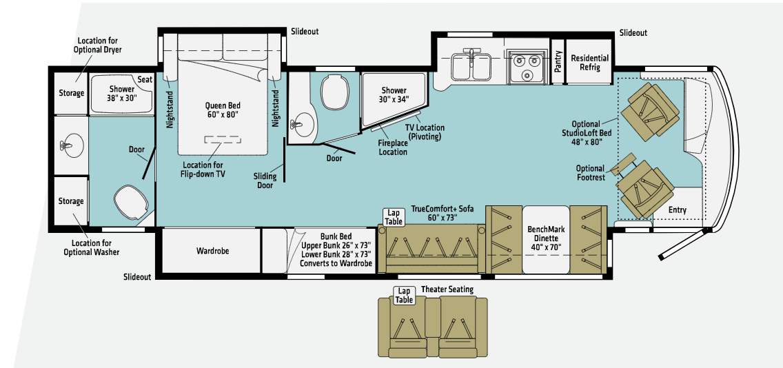 winnebago forza class a motorhome floor plan