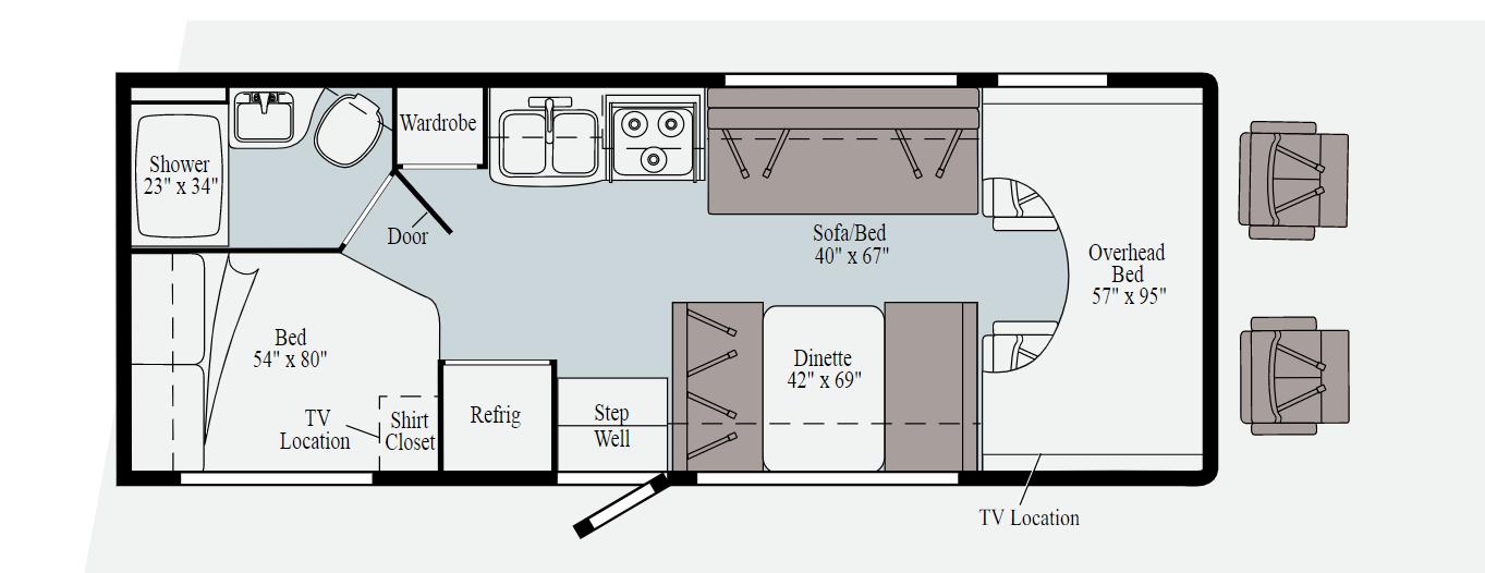 winnebago minnie winniw 25b floorplan options