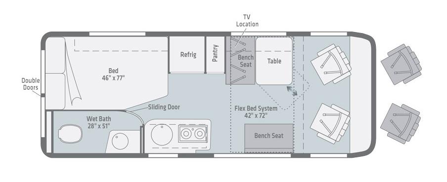 winnebago travato class b motorhome floorplan options