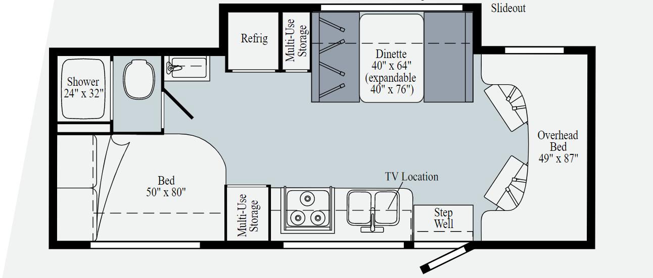 winnebago vita 24f class c motorhome floorplan
