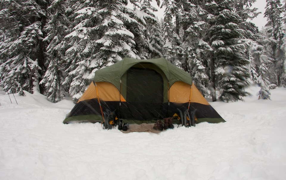 Winter campers gather at campground