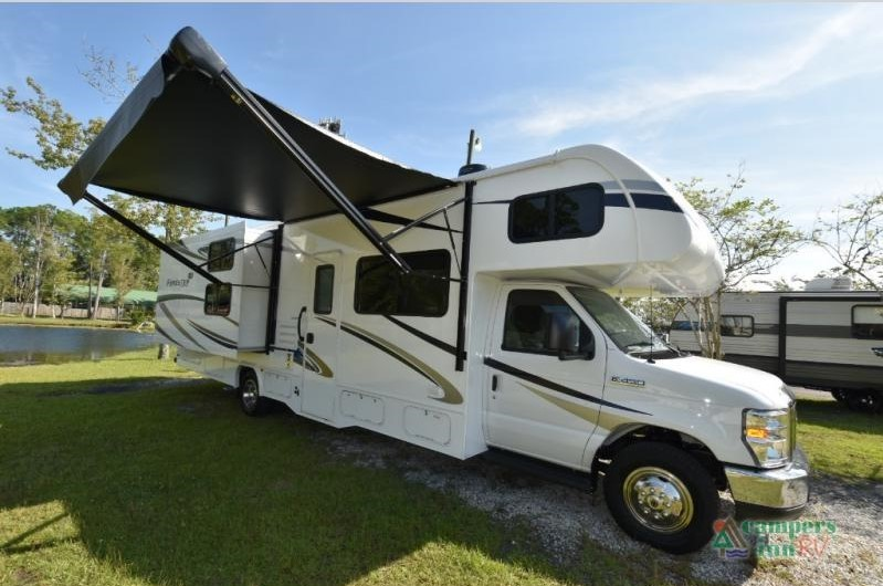 exterior with awning extended forest river forester class c motorhome